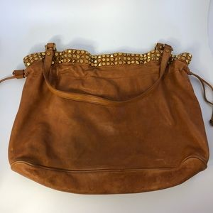 Tory Burch extra large tan gold stud shoulder bag